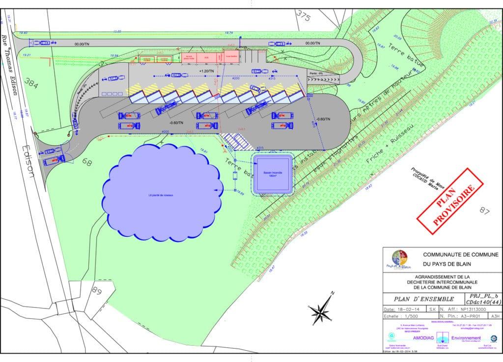 Plan des travaux prévus sur la déchèterie de Blain